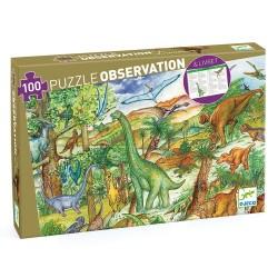 PUZZLE OBSERVATION - DINOSAURES + LIVRET - 100 PCS